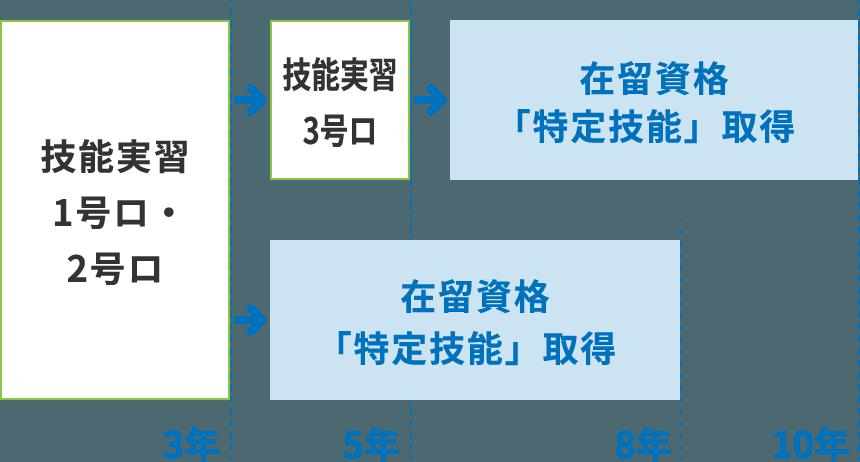 技能実習1号ロ・2号ロ 3年 技能実習3号ロ 在留資格「特定技能」取得 在留資格「特定技能」取得